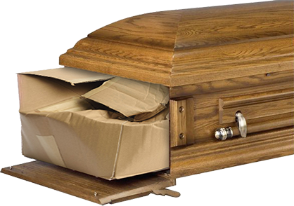 Traditional shape cardboard coffin