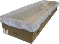 lined cardboard coffin